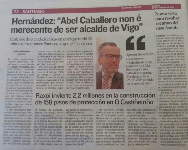 Noticia publicada en 'El Correo Gallego' el 20 de febrero, donde el alcalde de Santiago (PPdeG) desmerece el trabajo de Abel Caballero (PSdeG), alcalde de la ciudad de Vigo.