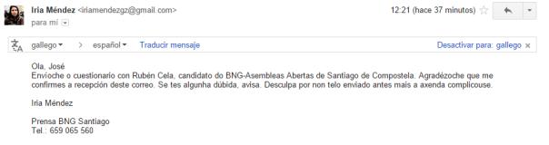 Imaxe que reflicte o contacto mantido, vía e-mail, co gabinete de prensa do BNG e secretaria de Rubén Cela.