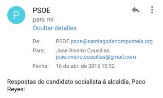 Contacto vía correo electrónico con el PSOE de Santiago de Compostela.